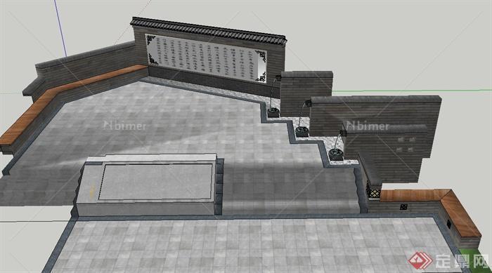 古典中式园林文化景墙,跌水景观设计su模型