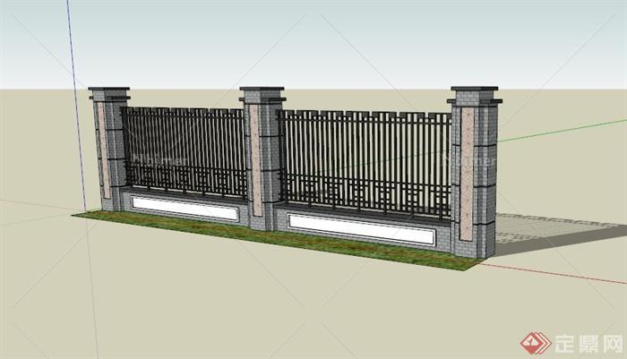 4格现代围墙设计sketchup 模型[原创]图片