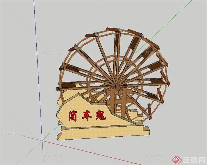 手工制作木质筒车