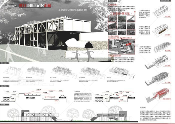 工业遗迹厂房建筑改造设计展板,cad和su模型[原