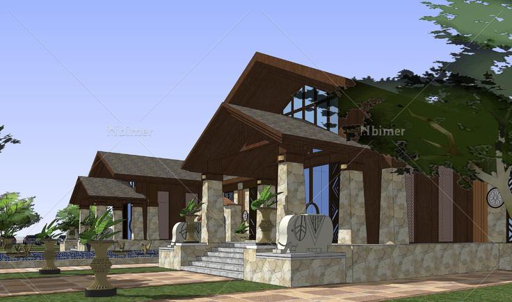 东南亚风格售楼处建筑方案sketchup模型