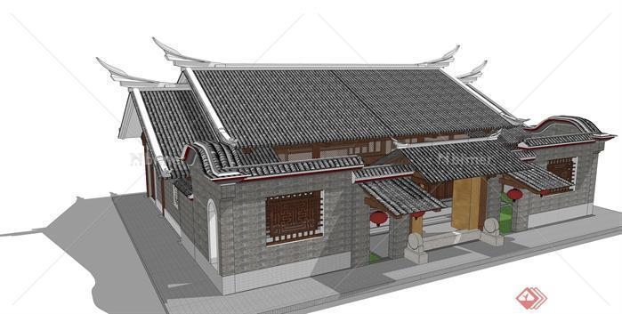 仿古单体民居建筑设计su模型,内容为一个单体的单层建筑,模型制作细致