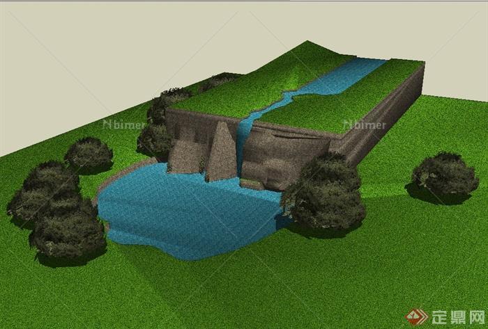 某大自然河流景观设计su模型[原创]