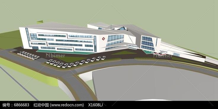 公共建筑,医院建筑,公共建筑效果图,公共建筑模型,公共建筑大门,两层