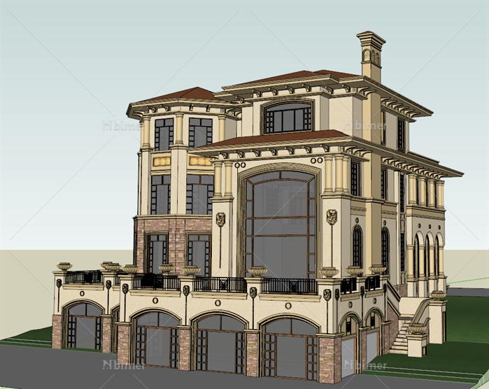 某西班牙风格山地小别墅建筑方案设计su模型[原创]