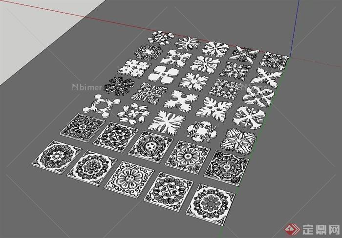 多种不同的方形花纹设计su模型[原创]