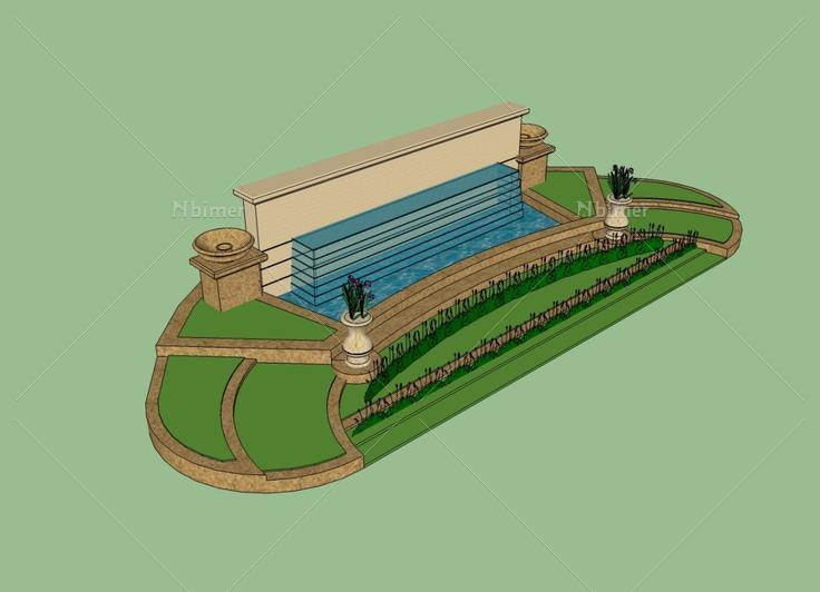 无标题欧式水池喷泉 - sketchup模型库 - 毕马汇 nb