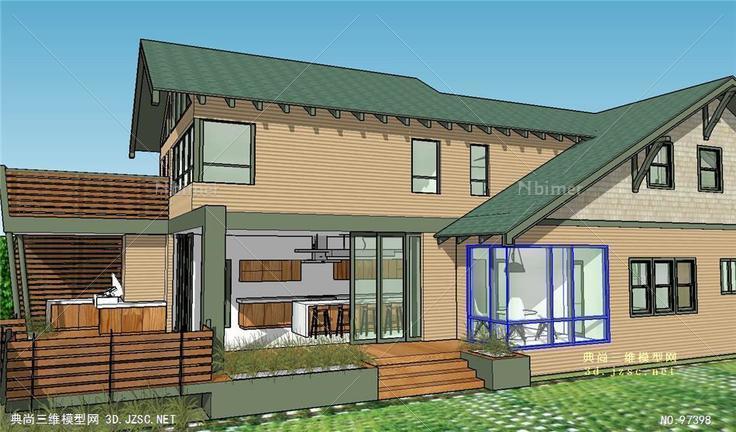 香格里拉绿洲模型风格住房建筑su别墅瓜的欧美渚柯桥别墅图片
