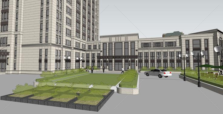 欧式新古典风格高层公寓及会所建筑sketchup模型
