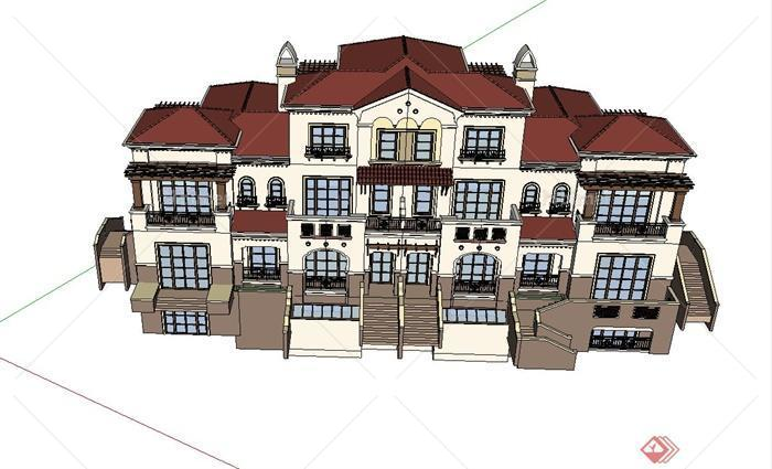某美式四层联排别墅建筑设计SU模型设计教程开关电源视频图片