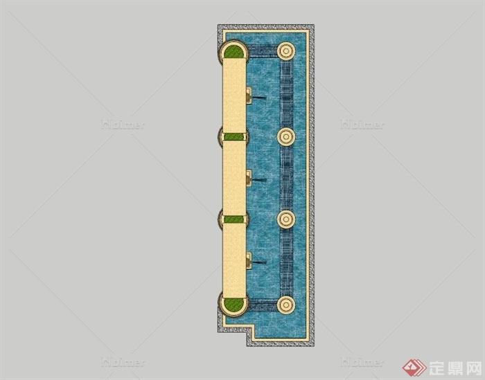 欧式入口景墙喷泉水池SU模型,该设计风格为欧式设计风格,有景墙,喷水雕塑,水池等,模型制作美观详细,细节部分制作精致,有材质贴图,具有一定参考使用价值,欢迎下载使用。