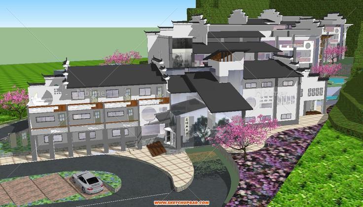 山地旅馆建筑设计su模型图片