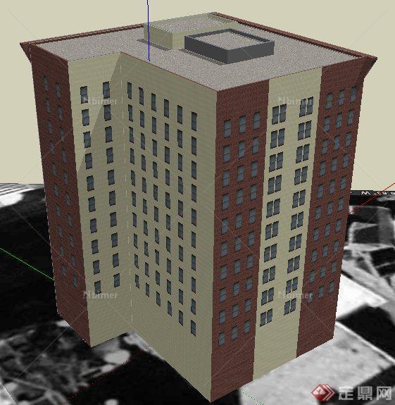 现代风格转角高层办公楼建筑设计su模型