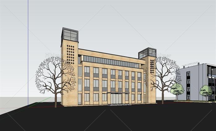 两栋现代四层办公楼建筑设计SU市场[原创]建筑设计院模型图片