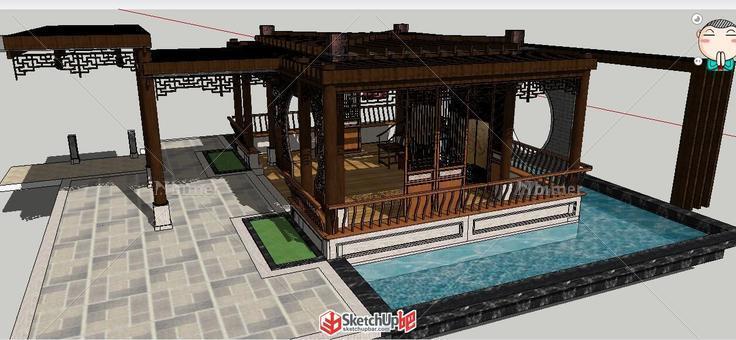中式,木结构,临水,廊架