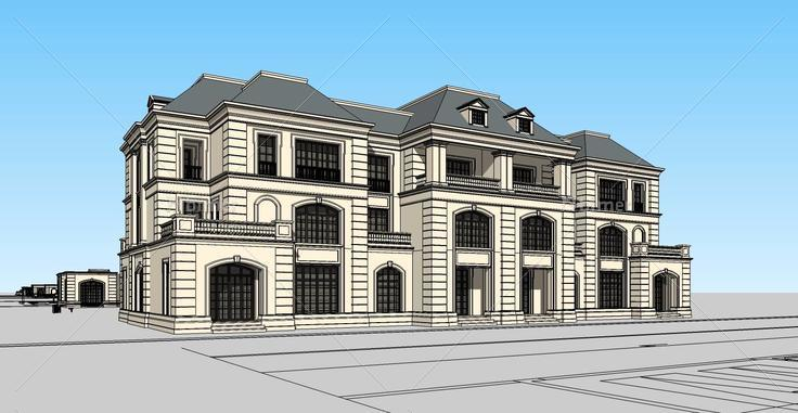 001法式三层四联模型(130528)su别墅下载楼中楼别墅框架图片