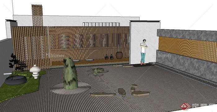 某现代风格庭院景墙围墙设计su模型[原创]