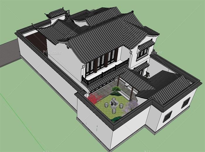现代中式风格一套精致仿古小别墅建筑su设计模型