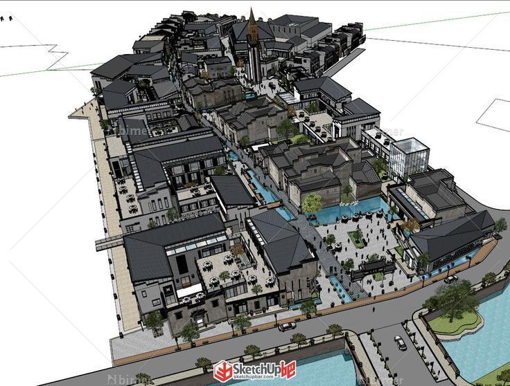 黄山国际黎阳老街—一个超细的中式商业街规划模图片