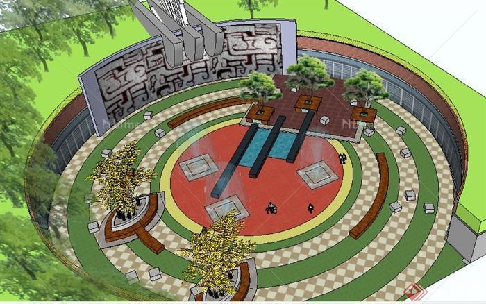 简约中式圆形小广场景观设计su模型[原创]
