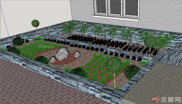 某现代风格住宅庭院菜园设计su模型[原创]图片
