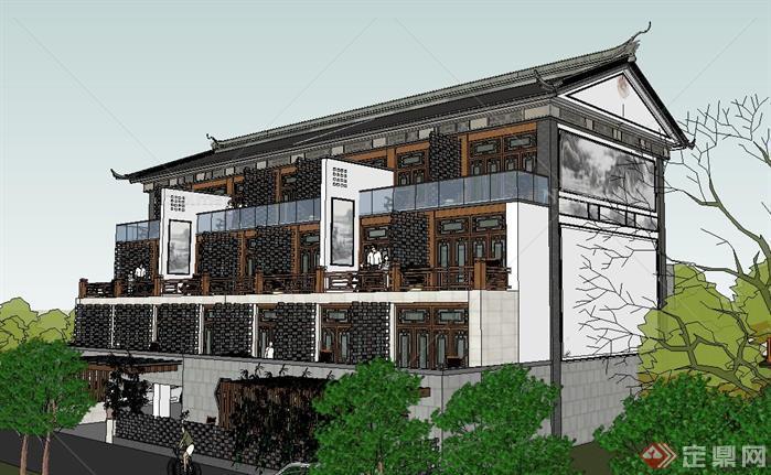 仿古民俗旅馆建筑su精致设计模型,该建筑方案设计很具有创意,模型制作