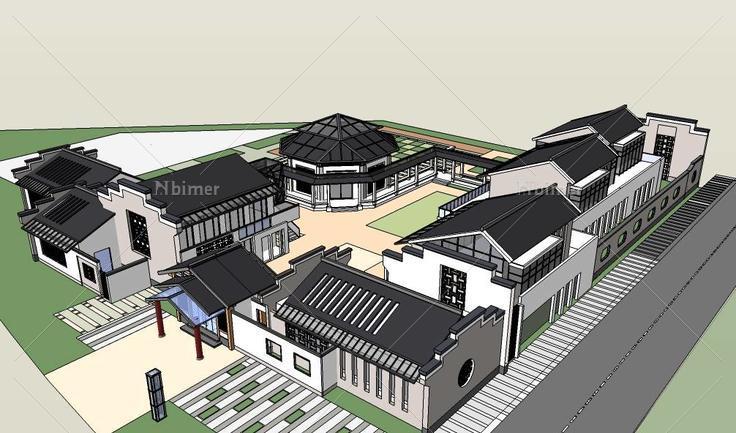 中式徽派建筑幼儿园(97845)su模型下载图片