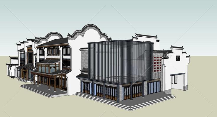 古镇商业街精模15(103717)su模型下载图片