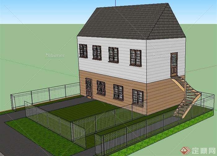 某现代二层民房住宅建筑设计su模型