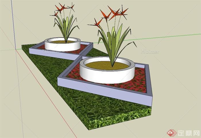现代圆形,四边形花池设计su模型
