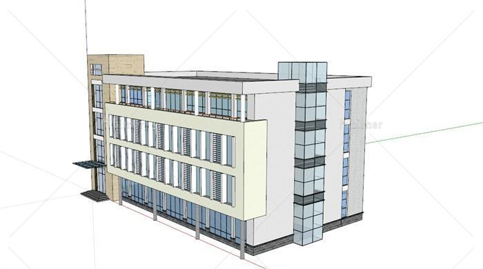 某现代四层办公楼建筑su艺术设计[原创]-设计英文26字体模型字幕图片