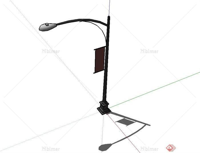 某现代风格街道路灯设计su模型[原创]