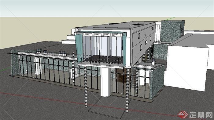 现代两层集装箱式展览馆建筑设计su模型[原创]