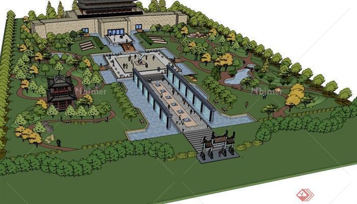 某景区入口公园景观设计sketchup草图大师模型[原