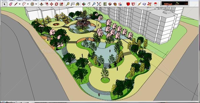 街头绿地景观设计su模型[原创]