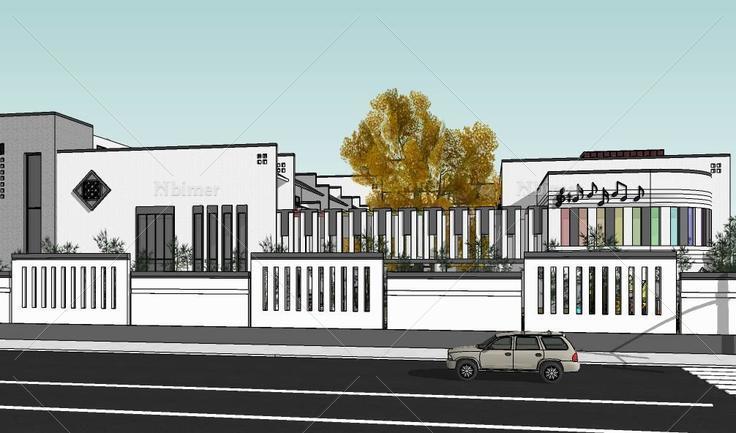 中式徽派黑白灰幼儿园学校类建筑设计方案sketch图片