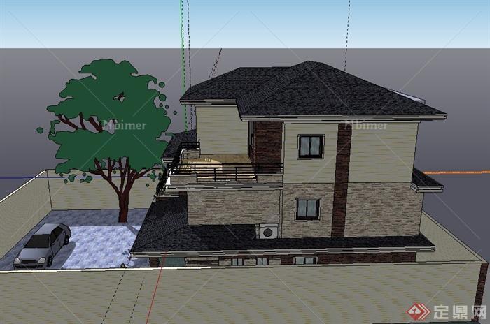 农村自建三层现代别墅建筑设计sketchup模型[原创]