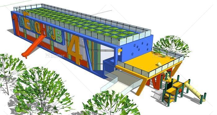 现代幼儿园建筑设计su模型[原创]图片