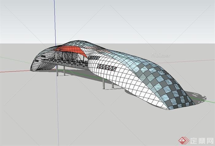 某现代风格创意人形天桥设计su模型图片