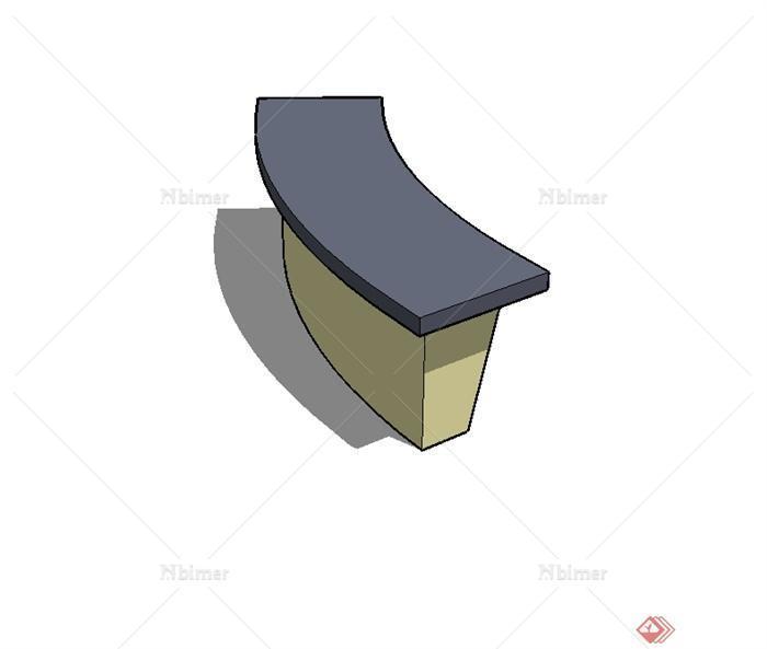 现代风格户外长凳设计su模型[原创]