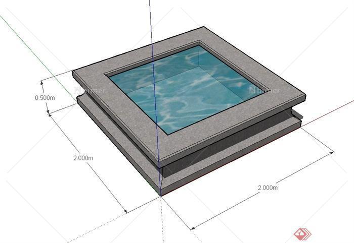 某现代风格正方形水池水景设计su模型[原创]图片
