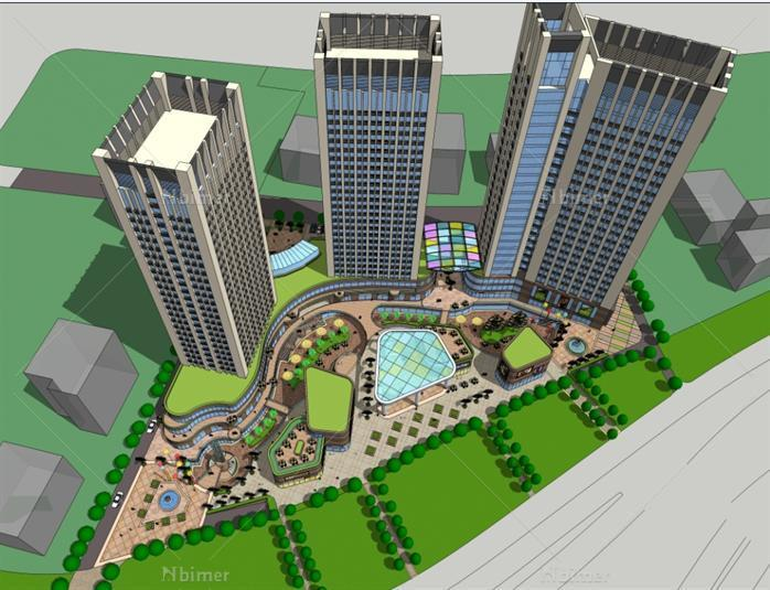 裙房商业 公寓综合体项目sketchup精致设计模型