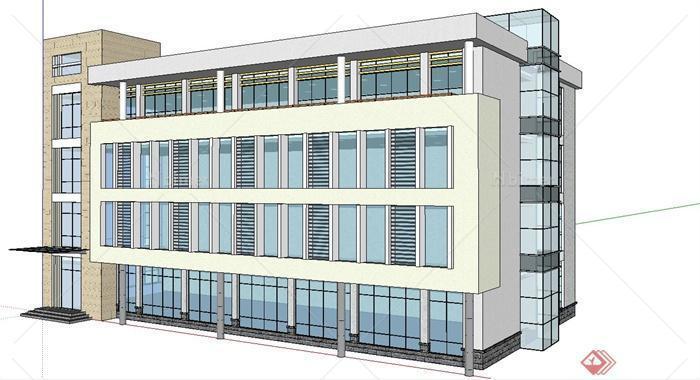 某现代四层办公楼投标su模型施工[原创]-建筑设计装修组织设计图片