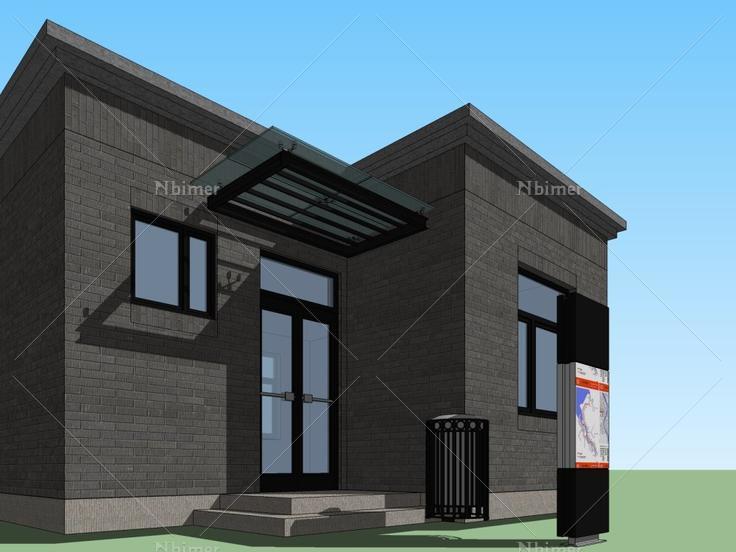 门卫室,现代主义别墅,1层风格无宜兴院竹海无锡图片