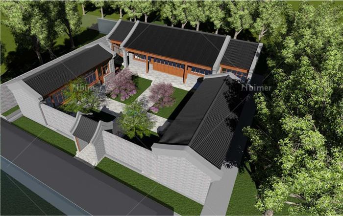 某古典中式三合院住宅建筑设计cad图 su模型 pdf