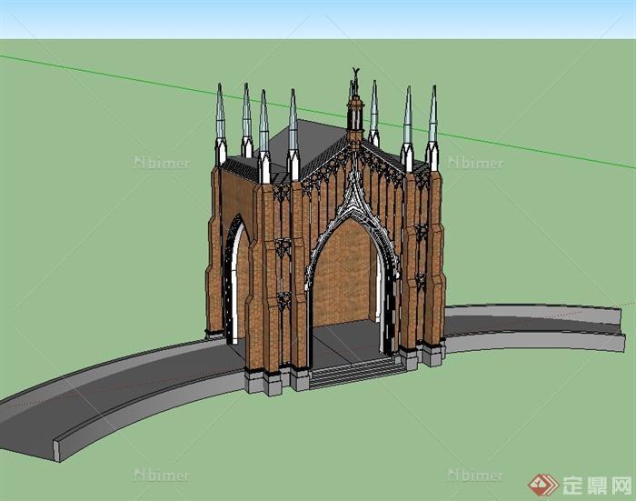 某欧式风格建筑构件门头入口设计su模型[原创]