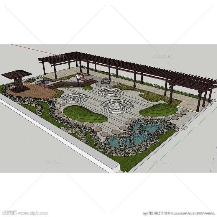 枯山水屋顶花园庭院草图大师模型图片