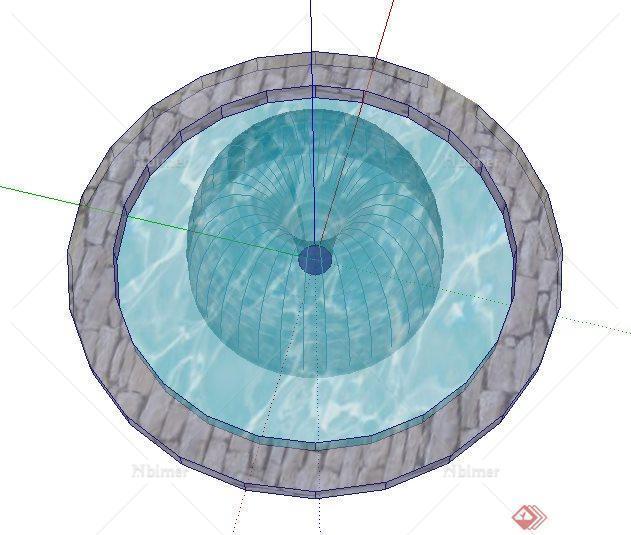 简洁圆形喷泉水池设计su模型[原创]