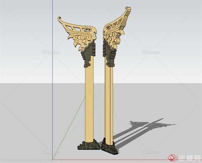 现代中式石柱雕塑设计su模型[原创]