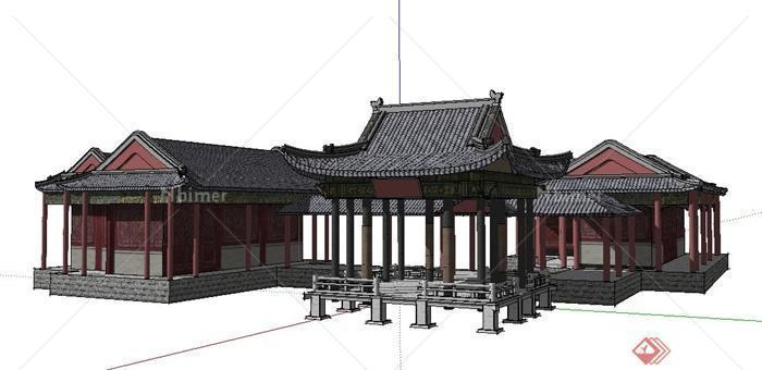 中式亭廊及古建筑设计su模型[原创]